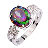 Psiroy 925 Sterling Silver Fashion Oval Cut Rainbow Cubic Zirconia CZ Engagement Filled Ring for Women