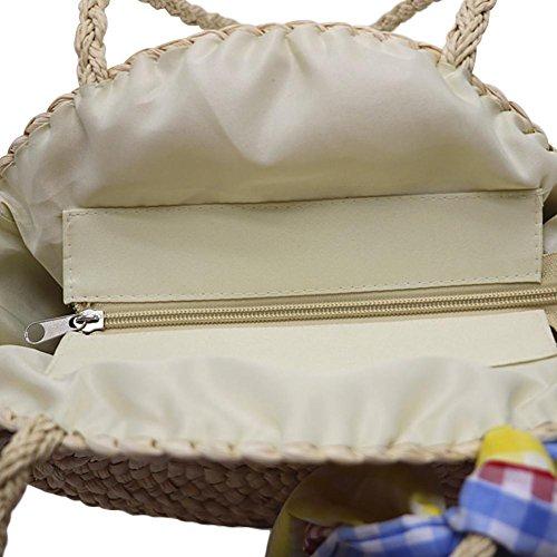 marrón Blanco a tejido bandolera redondo mujer para mano bolso bandolera de playa paja para Bolso hecho la Gaeruite T04waa
