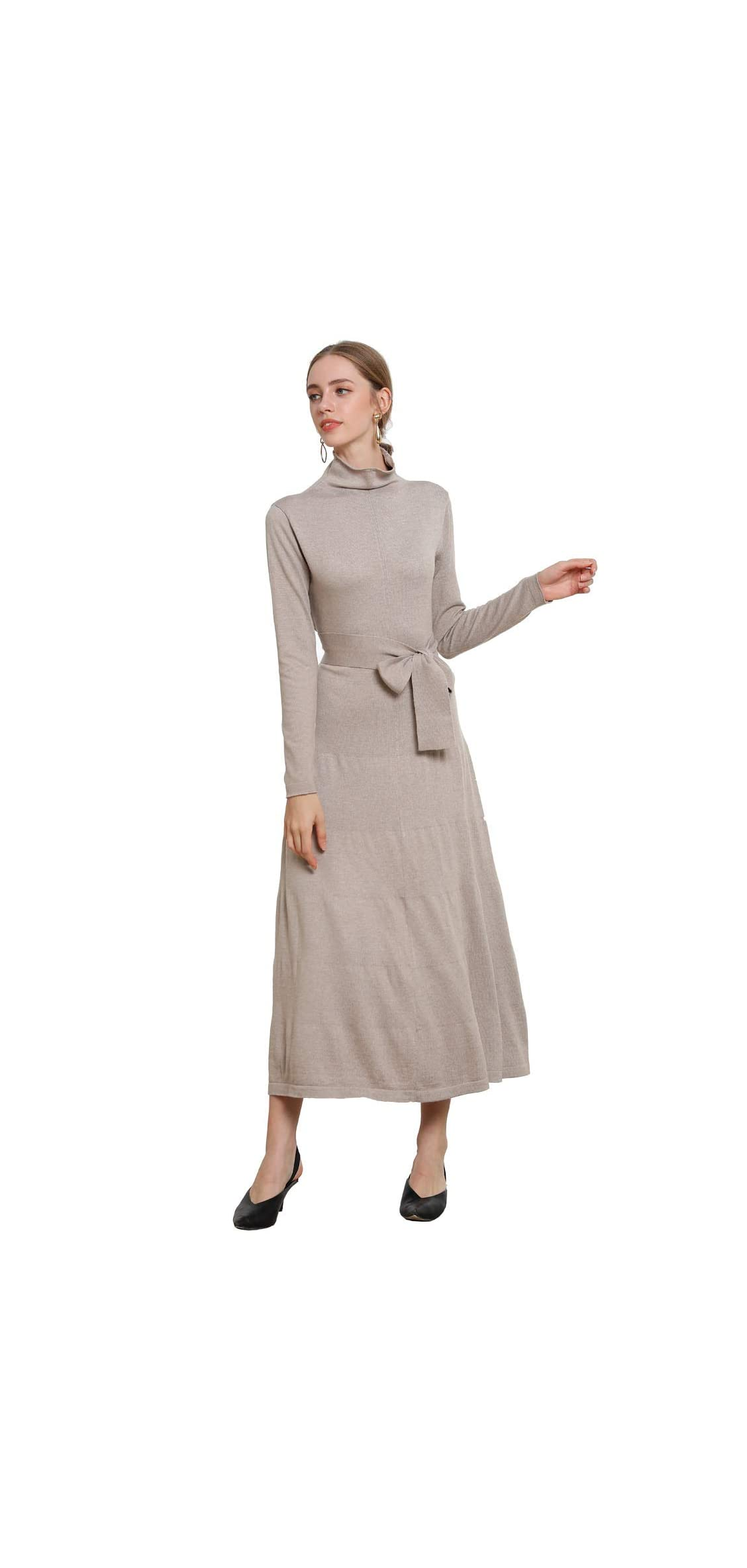 Cashmere Sweater Dress Long Maxi Turtleneck Flowy Pleated With