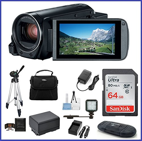 Canon VIXIA HF R80 Full Camcorder Ultimate Bundle, includes: 64GB SDXC Memory Card, LED Light, Tripod, Spare Battery and more... by Canon