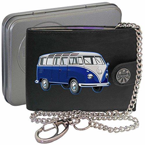 Blau T1 VW Camper Klassek Herren Geldbörse Geldbeutel Portemonnaie mit Kette Volkswagon Wohnmobil Zubehör