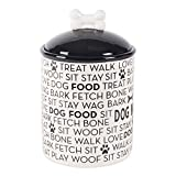 "DII Bone Dry Medium Ceramic Pet Treat Storage Canister with Lid  5.5"" (Dia)x8.25"" (H) , Perfect Food and Treat Jar for Dogs and Cats-Black Dog Text"