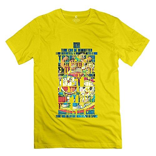 Vintage Doctor Doraemon Tardis Who Men's T-shirt Yellow Size XL