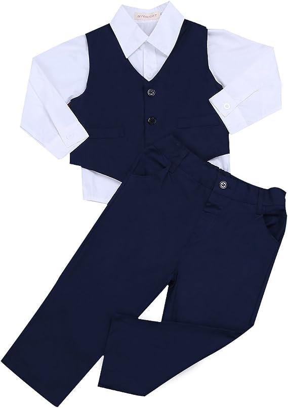 IEFIEL 3 Piezas Traje para Bebé Niño (6 Meses-4 Años) Conjunto Camisa Manga Larga Chaleco Pantalones Largos Traje de Bautizo Fiesta Boda Ceremonia: Amazon.es: Ropa y accesorios