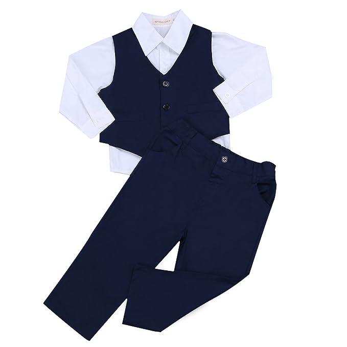 IEFIEL 3 Piezas Traje para Bebé Niño (6 Meses-4 Años) Conjunto Camisa Manga Larga Chaleco Pantalones Largos Traje de Bautizo Fiesta Boda Ceremonia