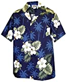 Pacific Legend Boys White Hibiscus Monstera Shirt NAVY BLUE L