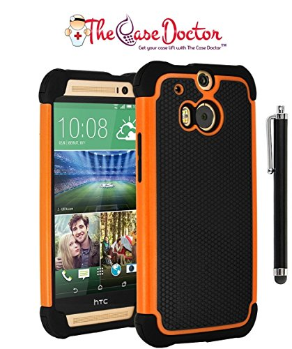 TCD New Orange & Black Executive Armor Defender High Impact Combo Hard Soft Gel Case Cover Skin Body for HTC One M8 (Htc One M8 Best Phone Ever Made)