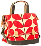 Orla Kiely Womens Red/Cream Solid Stem Print Small Zip Satchel Cross Body Messenger Bag