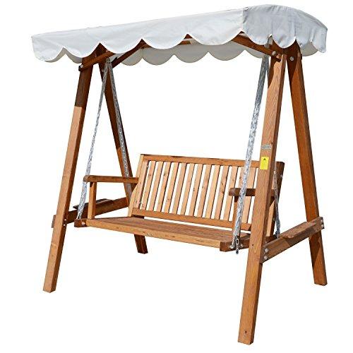 Outsunny Hollywoodschaukel mit Sonnendach, 2-Sitzer Gartenschaukel, Schaukelbank aus Lärchenholz, braun
