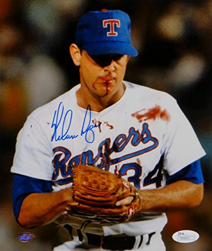 Nolan Ryan Autographed Texas Rangers 8x10 Bloody Lip Photo- JSA Authenticated - Autographed Rangers 8x10 Photo