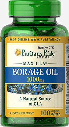 Puritan's Pride Borage Oil 1000 mg-100 Softgels - Oils Borage Oil