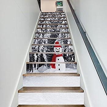 Amazon Com 13pcs 3d Diy Christmas Snowman Tile Stairs