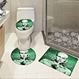 Futuristic 3 Piece Shower Mat set Robot Girl with Metal Cables In a Glass Underwater Print customized Hunter Green and Pistachio Green