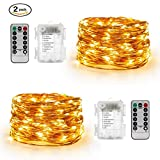 UPSTONE 2 Pack 33 Feet 100 LED Fairy Lights Battery Operated with Remote Control Timer Waterproof Copper Wire Twinkle String Lights for Bedroom Indoor Outdoor Wedding Dorm Decor Warm White