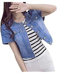Yayu Womens Summer Round Neck Short Sleeve Denim Jacket Coat