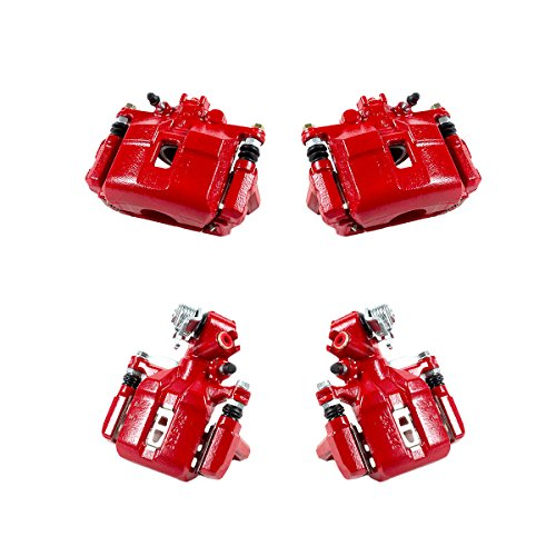 CK01081 FRONT + REAR [ 4 ] Performance Grade Semi-Loaded Powder Coated Red Caliper Assembly Set Kit (Best Tires For Honda Civic Si)