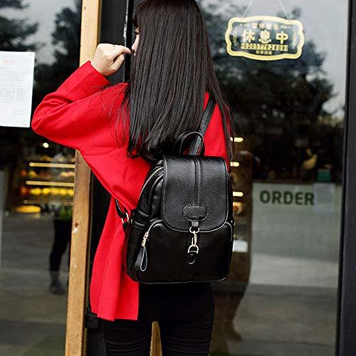 color Black A Tracolla Femminile Pelle Della Morbida Vento Viaggio Casual Selvaggia Versione In Borsa Black Zaino Coreana College Marea Moda Bovina 1HqxwBH