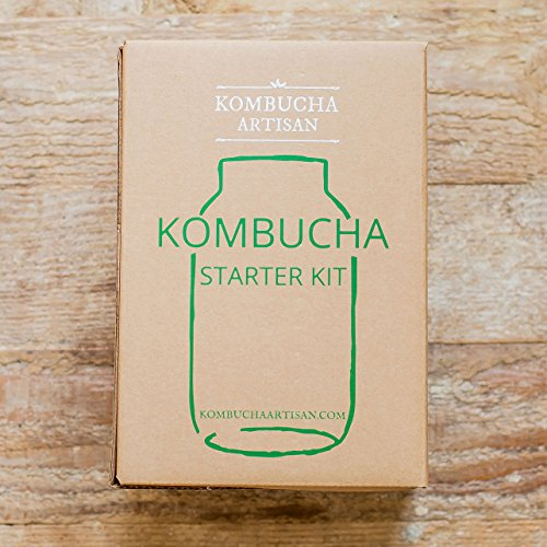 Kombucha Brewing Starter Kit with Equipment and Ingredients. Includes Specialty Tea Mix, SCOBY, Temp Strip, pH Tester, Glass Jar and Cover, and MORE!