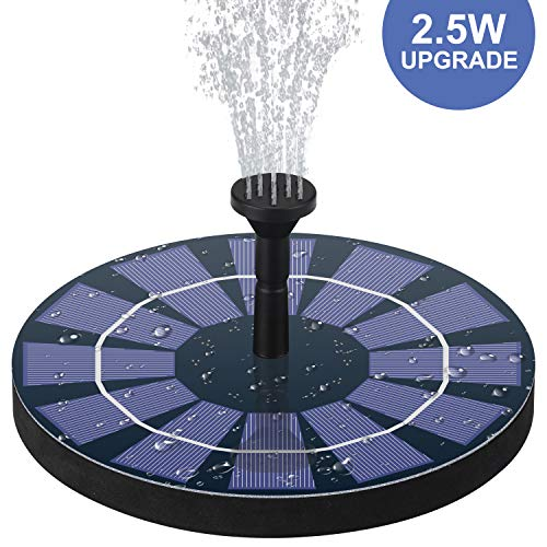 jerayley Solar Fountain Pump for Bird Bath with Battery Backup, 2.5W Solar Powered Water Fountain for Small Pond,Garden