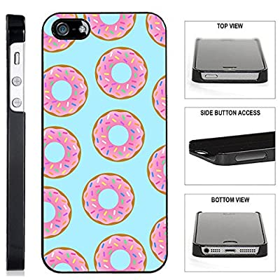 [TeleSkins] - Donuts iPhone SE / 5 / 5S Black Plastic Case - Ultra Durable Slim & HARD PLASTIC Protective Vibrant Snap On Designer Back Case / Cover for Girls. [Fits iPhone SE / 5 / 5S]