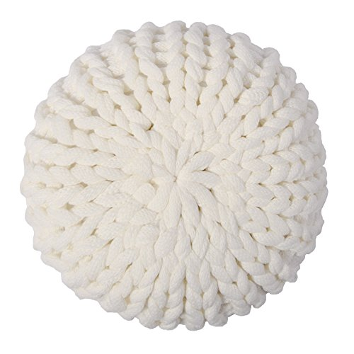 KingRose Handmade Cable Knit Decorative Accent Throw Pillow Woven Cushion for Sofa Chair Couch 16 Inches Round White