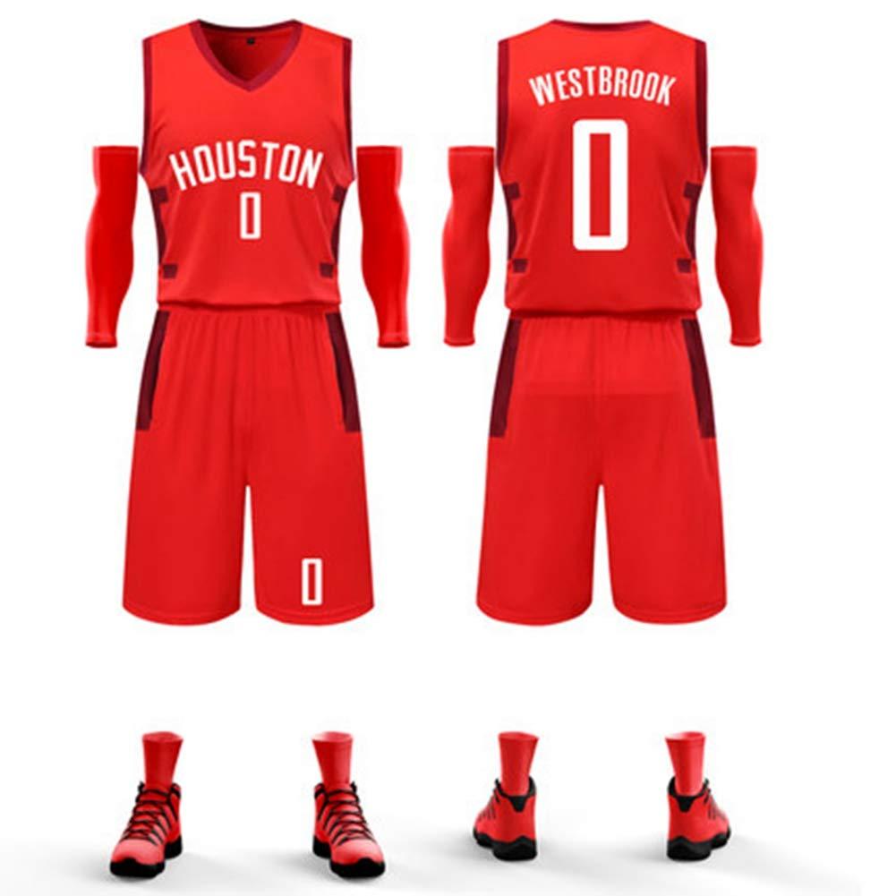 HS-HWH316 Houston Rockets # 0 Russell Westbrook Ropa De Juego De Baloncesto Ropa Deportiva Suave Y Transpirable Ropa Casual Competencia Entrenamiento Regalo De Fan/áticos,2XS130~145CM