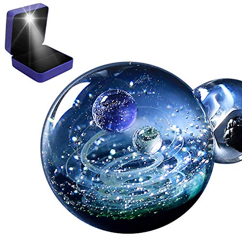 Pavaruni Original Galaxy Pendant Necklace, Universe Glass Accessories, Space Cosmos Design,Birthday Ourea(Light Gift Box)