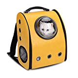 Innovative Traveler Bubble Backpack Pet Carrier for Cats and Dogs Outdoor Travel Mesh Pup Pack for Pet (Yellow)