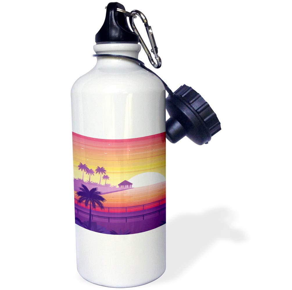 Purple and Orange Holiday Design with Sunset and Palm Trees 3dRose Sven Herkenrath Nature 21 oz Sports Water Bottle wb/_294207/_1