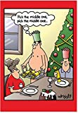NobleWorks ''Middle One'' Funny Merry Christmas Greeting Card, 5'' x 7'' (1693)