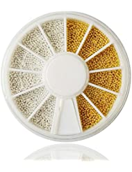Gold & Silver Nail Art Caviar Beads Manicure Pedicure Make up Decoration Wheel Nail Tool (gold & silver)