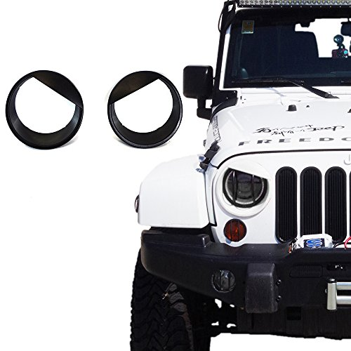 (Xprite Black Bezels Front Light Headlight Angry Bird Style Trim Cover ABS For Jeep Wrangler JK JKU 2007-2017 Sports, Sahara, Freedom & Rubicon - Pair)