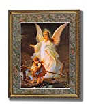 Guardian Angel With Children On Bridge Religious #2 Wall Picture Gold Framed Art Print