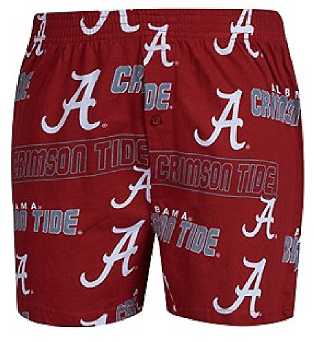 Alabama Crimson Tide Mens Crimson AOP Cotton Slide Boxer Shorts (M=34/35)