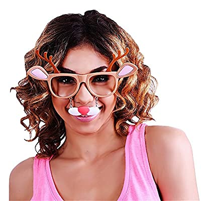 Sunstaches Holiday Reindeer Clear Lens Sunglasses, Instant Costume, Party Favors, UV400: Toys & Games