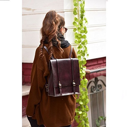 Dark Burgundy Leather Women's Handmade Backpack by AnyLeatherDesigns