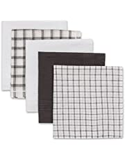 Pierre Cardin Pañuelos de diseño de moda para hombre, paquete de 5 conjuntos de regalo en colores sólidos y patrones, 100% algodón puro