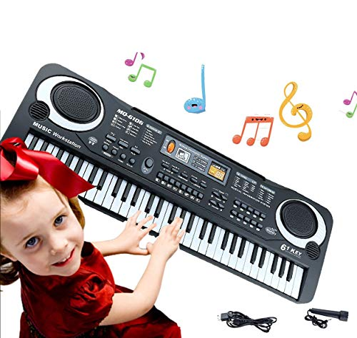 Keyboard Piano Kids 61 Key Electronic Digital Piano Musical Instrument Kit with Microphone Music Home Teaching Christmas Gift Toys for Boy Girls