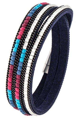 Trendy Fashion Jewelry Studded Bead Accent Wrap Bracelet By Fashion Destination | Navy