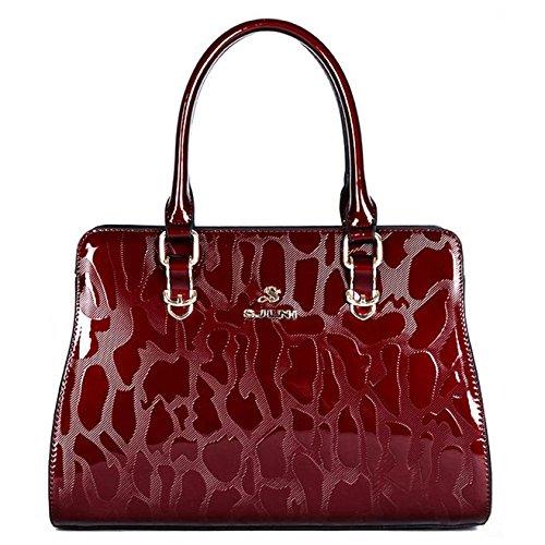 Sansji Woman Bag Hand Shoulder Bag Big Cap Pu Leather Shoulder Bag Messenger Bag Ladies Party Bag Totes Red Wine