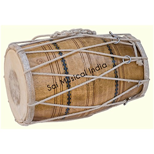 Queen Brass Dholak (Dholki), Mango Wood, Rope-tuned, Natural-Color AWUSAMI 080 ()