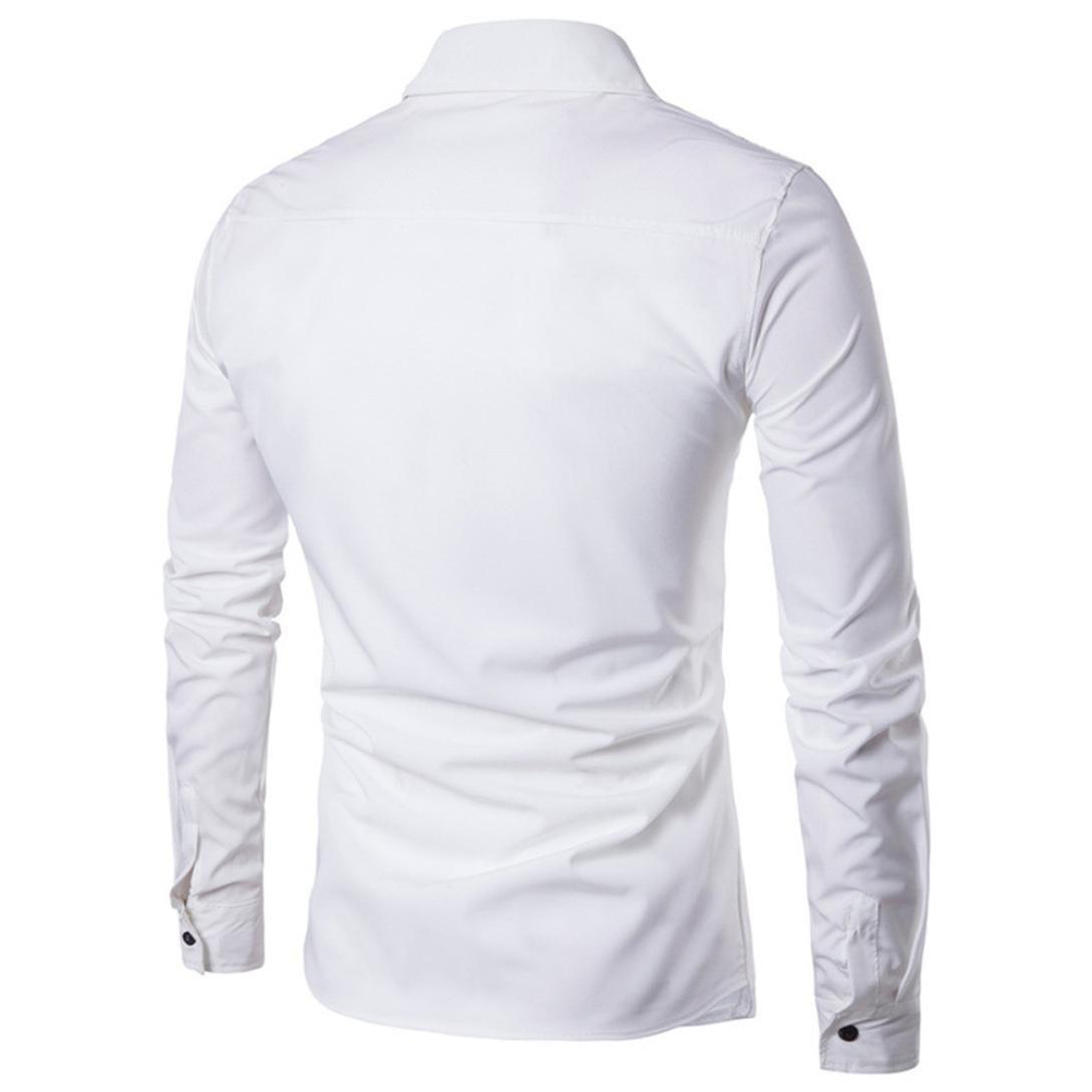 M, Blue Men Dress Shirts Daoroka Summer Cotton Casual Long Sleeve Business Work Wear Button Collar Blouse Casual Slim Fit Fashion Comfort Tops T Shirt