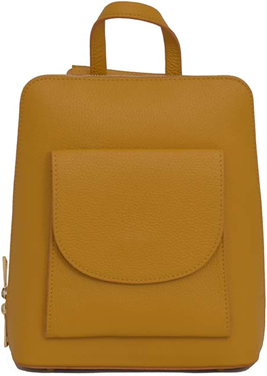 3 in 1 Backpack/Rucksack | Cross body bag and Handbag - Real Italian Grainy Leather Yellow