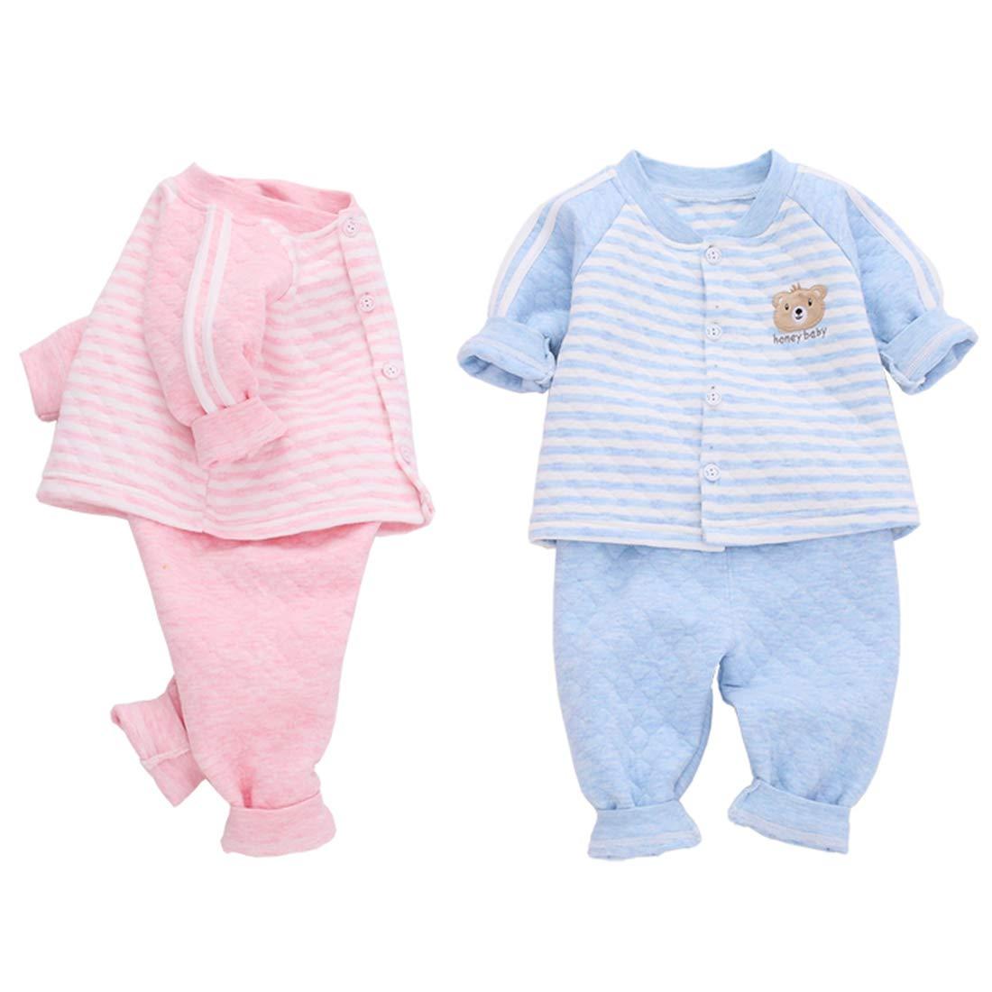PAUBOLI Toddler Organic Cotton Pajamas 2 Pieces Set Warm Baby Play and Sleep Suit