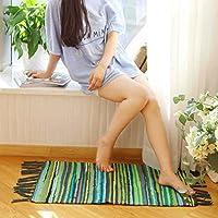 MAXYOYO Colorful Stripe Shabby Chic Design Runner Rug Beautiful Tassel Bedroom/Living Room/Kitchen, Boho Stripe Soft Cotton Bedside Blanket Runner Floor Mat Washable Carpet 35 59 Inch