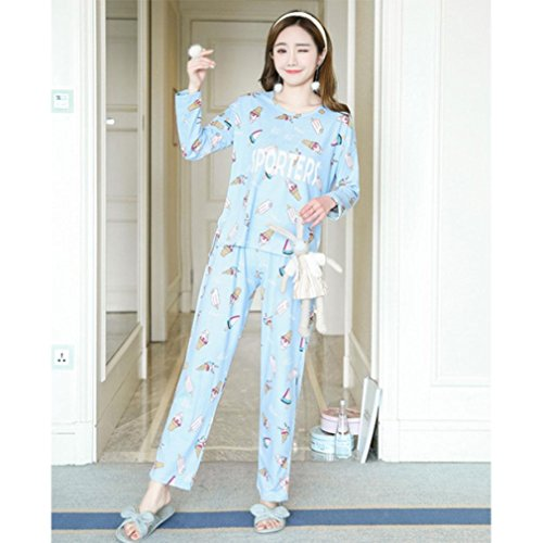 Amazon.com: MOXIN Ladies Pyjama Cotton Gift Set Long Top & Bottoms Cosy Autumn Womens Nightwear , M , letter ice cream blue: Home & Kitchen