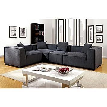 Amazon.com: Furniture of America Rankin Fabric Upholstered ...