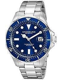 Stuhrling Original Men's 824.02 Aquadiver Quartz Date Blue Dial Stainless Steel Bracelet Watch