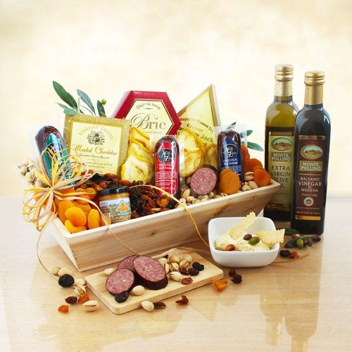 Dried Fruit, Nuts, Meat and Cheese Gift Crate by The Gift Basket Gallery
