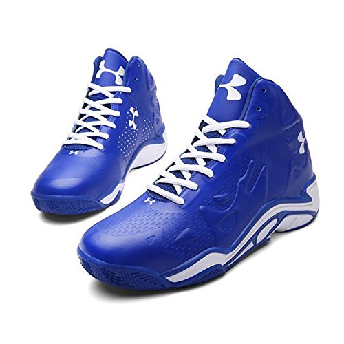 l'usure Homme 42 Sneakers 3D Chaussures Synthétique Mode en Basketball Slip Blue À Soulagement Non Cuir Résistant De Sport q7Hp5